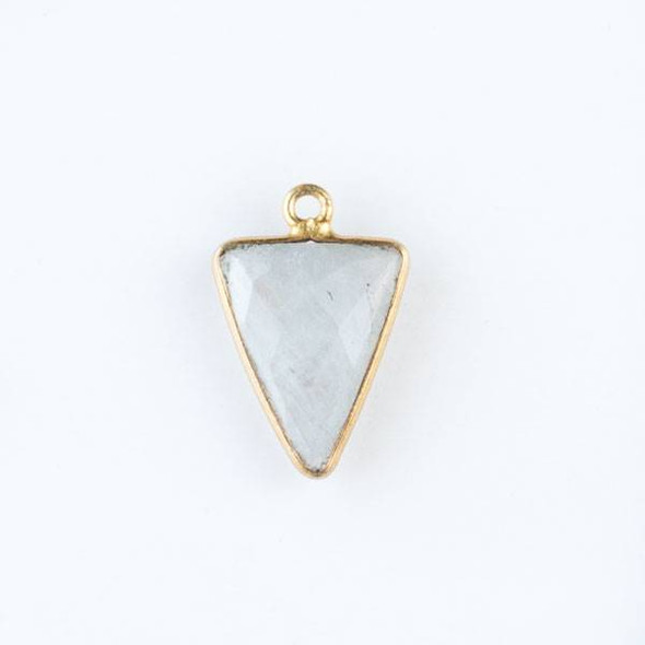 Moonstone 14x20mm Triangle Drop with a Gold Plated Brass Bezel