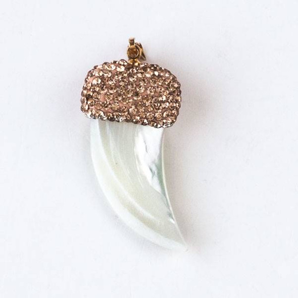 Mother of Pearl 19x45mm White Tusk Pendant with Champagne Crystal Pave and Gold Top