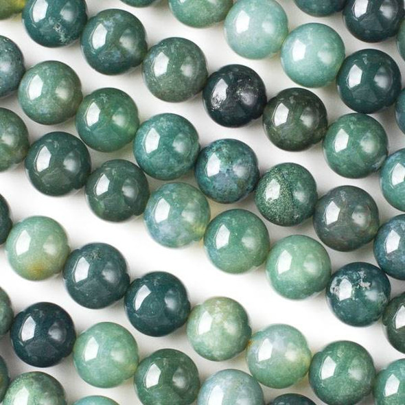 Moss Agate 10mm Rounds - Approx. 15.5 inch strand