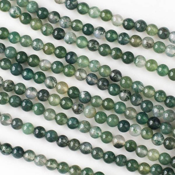 Moss Agate 4mm Rounds - Approx. 16 inch strand