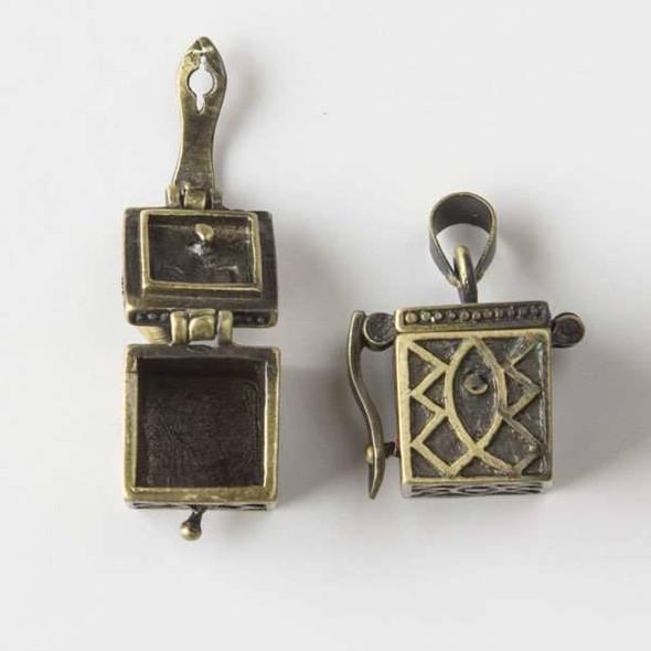 Vintage Bronze 11x22mm Cube Prayer Box with a Fish Tribal Design - 1 per bag