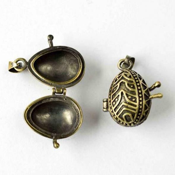 Vintage Bronze 15x30mm Pysanka Egg Prayer Box - 1 per bag