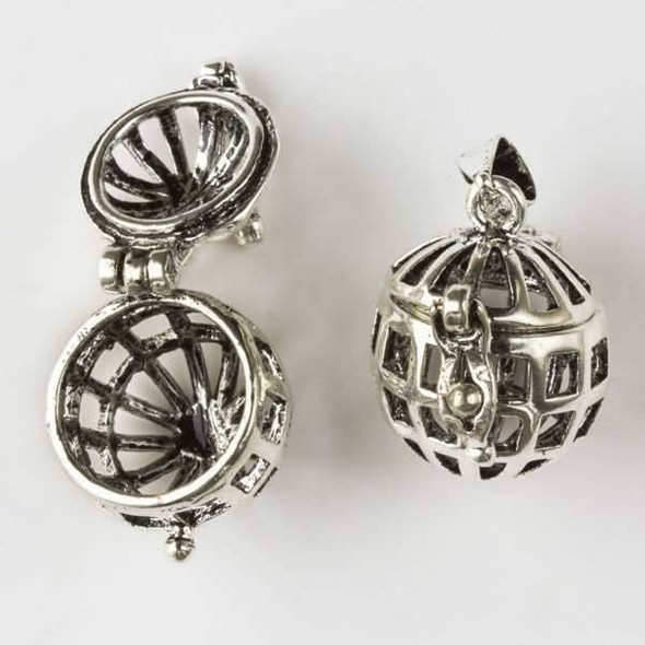 Silver 15x26mm Open Cage Round Prayer Box - 1 per bag
