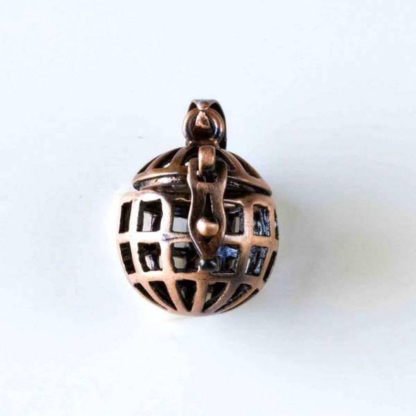 Vintage Copper 15x26mm Open Cage Round Prayer Box - 1 per bag