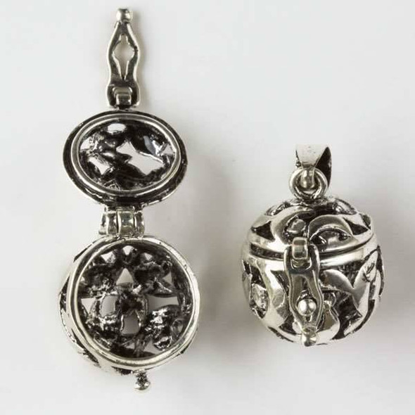 Silver 15x26mm Round Prayer Box with a Moon Pattern - 1 per bag