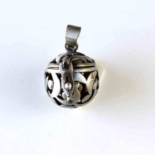 Vintage Silver 15x26mm Round Prayer Box with a Moon Pattern - 1 per bag