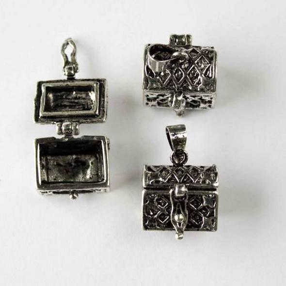 Silver 11x16x21mm Treasure Chest Prayer Box - 1 per bag