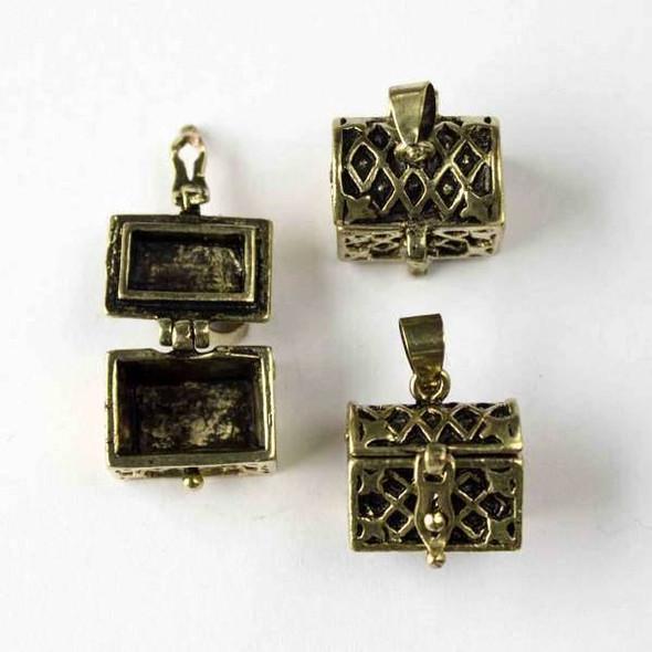 Vintage Bronze 11x16x21mm Treasure Chest Prayer Box - 1 per bag