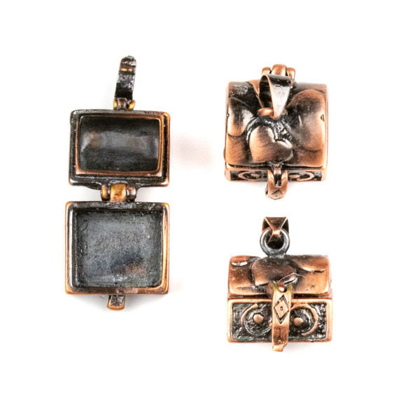 Vintage Copper 12x15x21mm Treasure Chest Prayer Box with Hearts - 1 per bag
