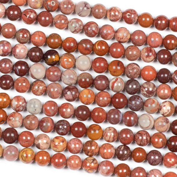 Mexican Red Porcelain Jasper 6mm Round Beads - 15 inch strand