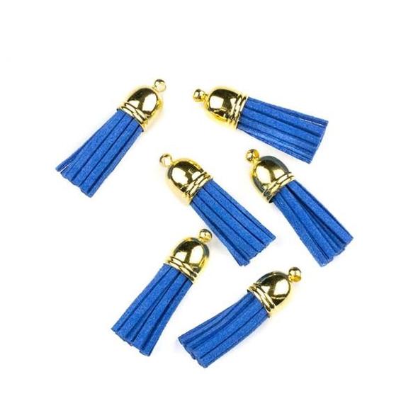 "Cornflower Blue Microsuede 1.5"" Tassel with a Gold Pewter Bead Cap - 6 per bag"
