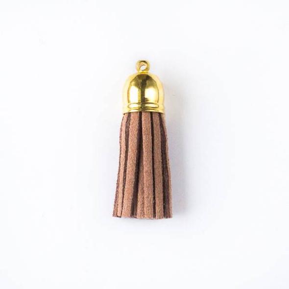 "Mocha Brown/Tan Microsuede 1.5"" Tassel with a Gold Pewter Bead Cap - 1 per bag"