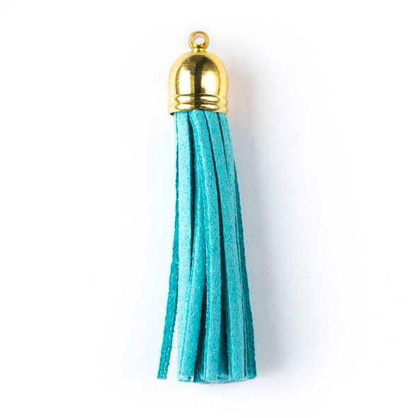 "Aqua Blue Microsuede 2.25"" Tassel with a Gold Pewter Bead Cap - 1 per bag"