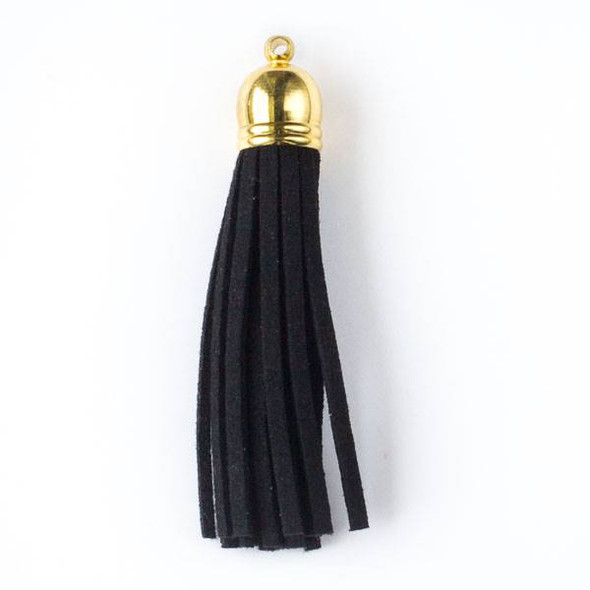 "Black Microsuede 2.25"" Tassel with a Gold Pewter Bead Cap - 1 per bag"