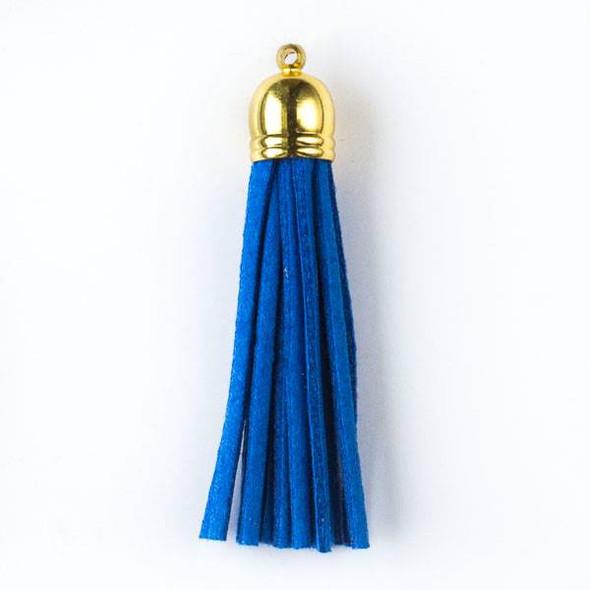 "Cornflower Blue Microsuede 2.25"" Tassel with a Gold Pewter Bead Cap - 1 per bag"