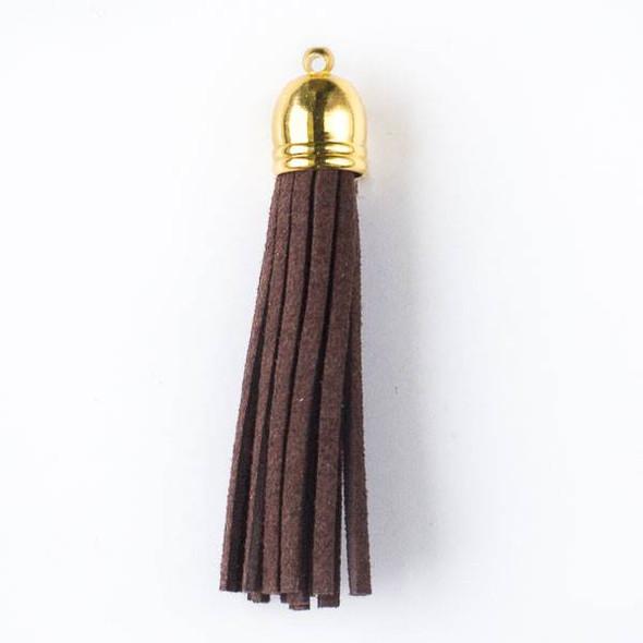 "Dark Espresso Brown Microsuede 2.25"" Tassel with a Gold Pewter Bead Cap - 1 per bag"