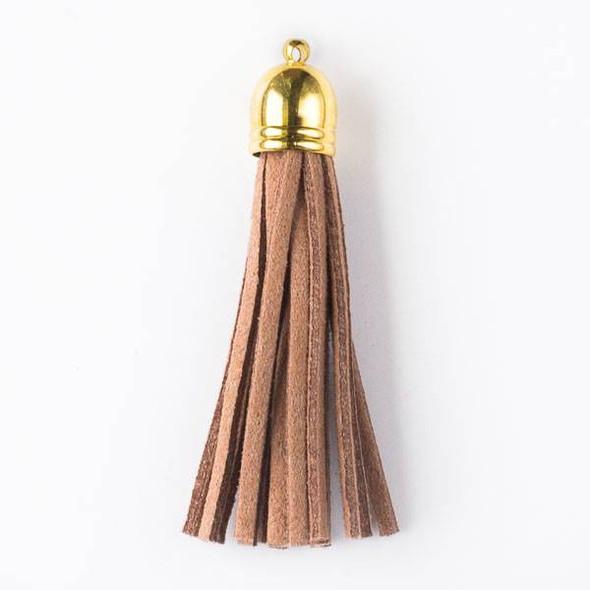 "Mocha Brown/Tan Microsuede 2.25"" Tassel with a Gold Pewter Bead Cap - 1 per bag"