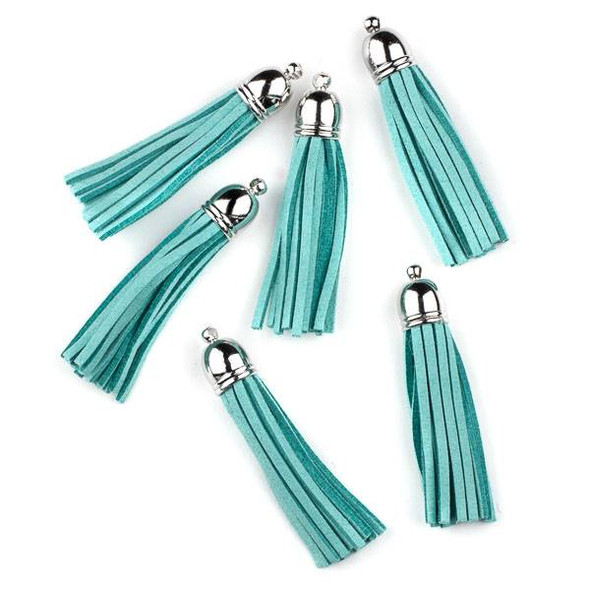 "Aqua Blue Microsuede 2.25"" Tassel with a Silver Pewter Bead Cap - 6 per bag"