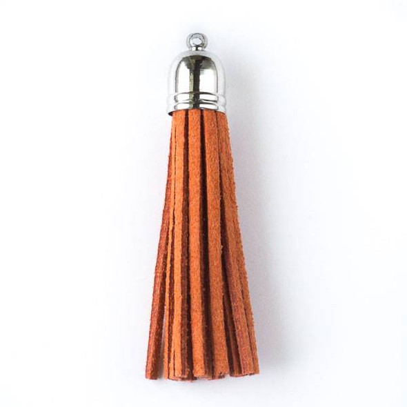 "Burnt Orange Microsuede 2.25"" Tassel with a Silver Pewter Bead Cap - 1 per bag"