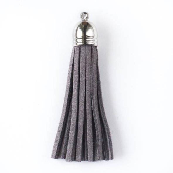 "Grey Microsuede 2.25"" Tassel with a Silver Pewter Bead Cap - 1 per bag"