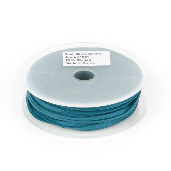 Aqua Blue Microsuede 1.5mm Thick, 2mm Wide Flat Cord - 25 yard spool