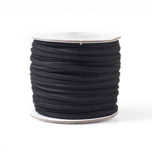 Black Microsuede 1.5mm Thick, 2mm Wide Flat Cord - 100 yard spool