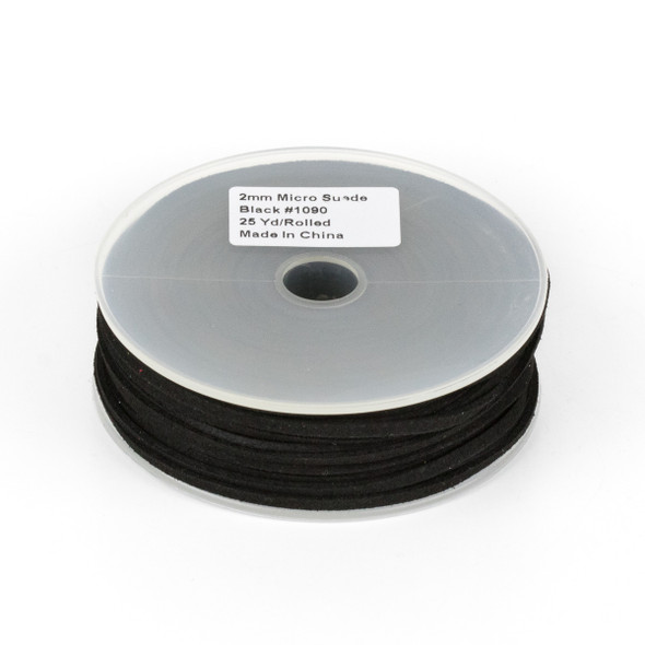 Black Microsuede 1.5mm Thick, 2mm Wide Flat Cord - 25 yard spool
