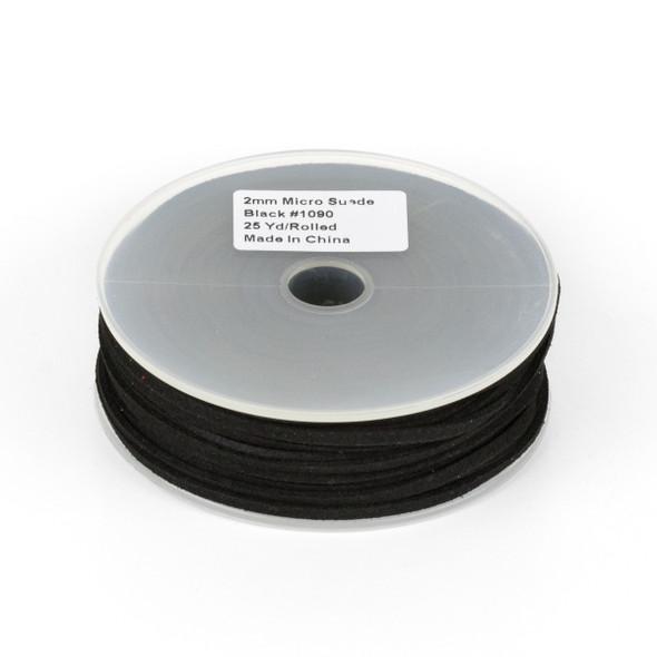 Black Microsuede 1.5mm Thick, 2mm Wide Flat Cord - 25 yard spool