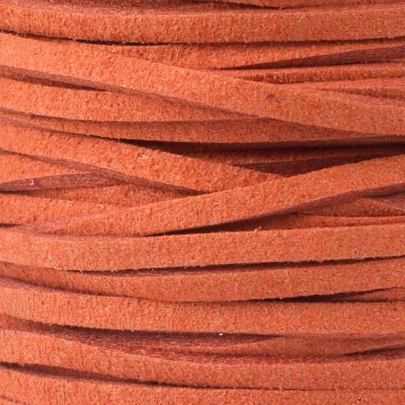 Burnt Orange Microsuede 1.5mm Thick, 2mm Wide Flat Cord - 25 yard spool