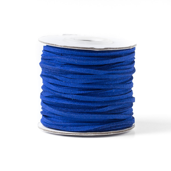 Cornflower Blue Microsuede 1.5mm Thick, 2mm Wide Flat Cord - 100 yard spool
