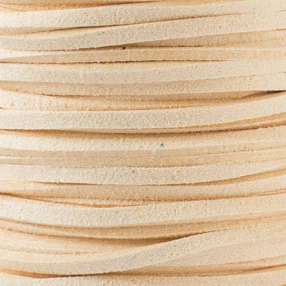 Cream Microsuede 1.5mm Thick, 2mm Wide Flat Cord - 100 yard spool