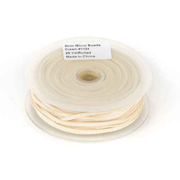 Cream Microsuede 1.5mm Thick, 2mm Wide Flat Cord - 25 yard spool