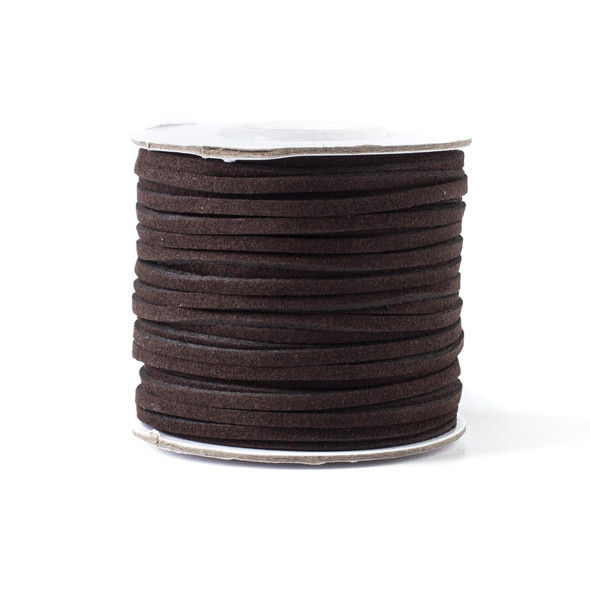Dark Espresso Brown Microsuede 1.5mm Thick, 2mm Wide Flat Cord - 100 yard spool