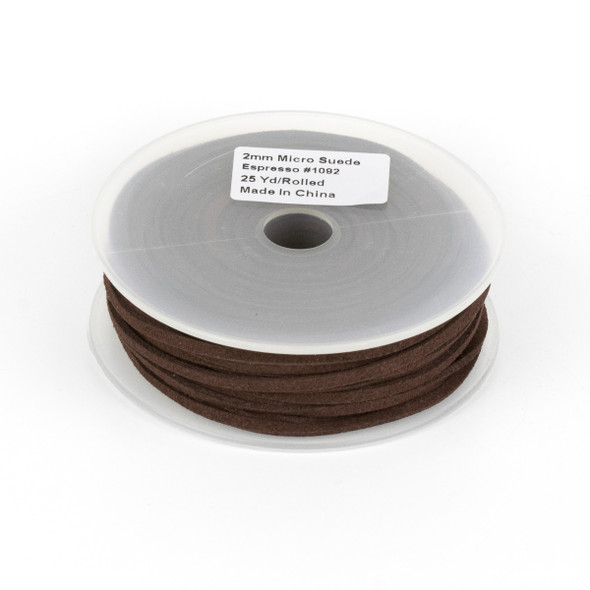 Dark Espresso Brown Microsuede 1.5mm Thick, 2mm Wide Flat Cord - 25 yard spool