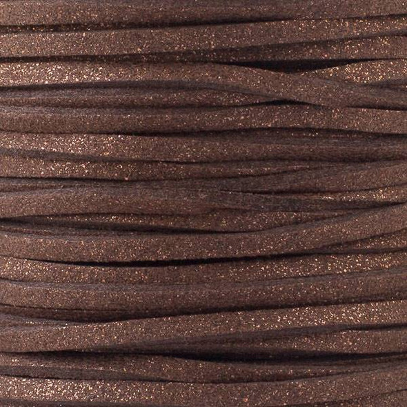 Chocolate Brown with Glitter Microsuede 1.5mm Thick, 2mm Wide Flat Cord - 100 yard spool