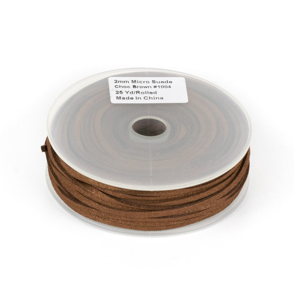 Chocolate Brown with Glitter Microsuede 1.5mm Thick, 2mm Wide Flat Cord - 25 yard spool
