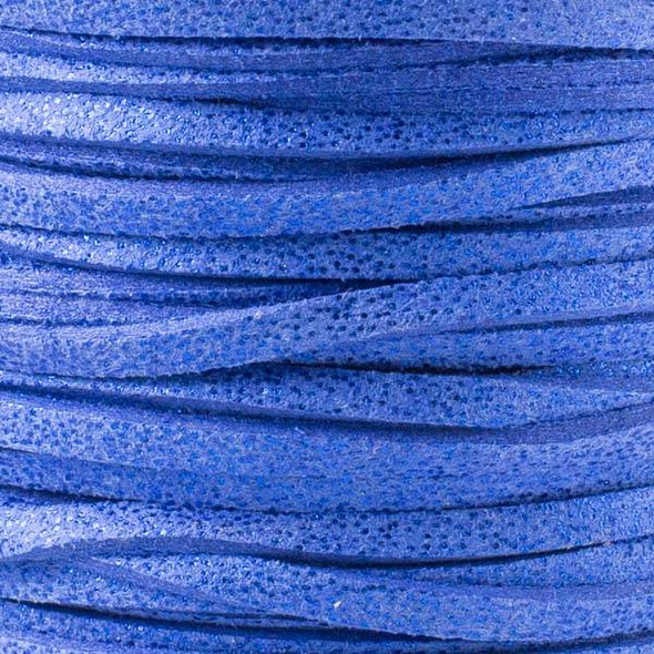 Midnight Blue with Glitter Microsuede 1.5mm Thick, 2mm Wide Flat Cord - 1 yard