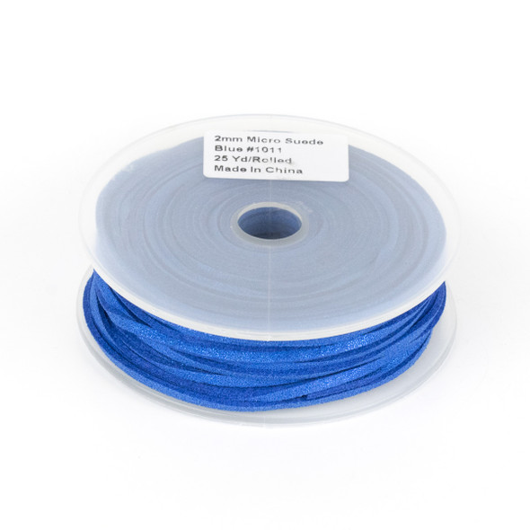 Midnight Blue with Glitter Microsuede 1.5mm Thick, 2mm Wide Flat Cord - 25 yard spool