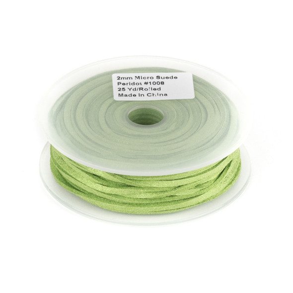 Peridot Green with Glitter Microsuede 1.5mm Thick, 2mm Wide Flat Cord - 25 yard spool