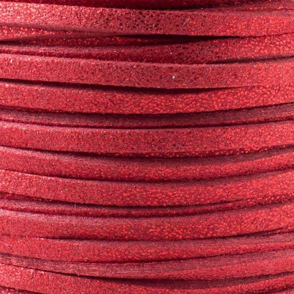 Red with Glitter Microsuede 1.5mm Thick, 2mm Wide Flat Cord - 1 yard