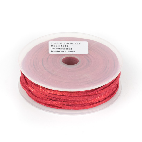 Red with Glitter Microsuede 1.5mm Thick, 2mm Wide Flat Cord - 25 yard spool