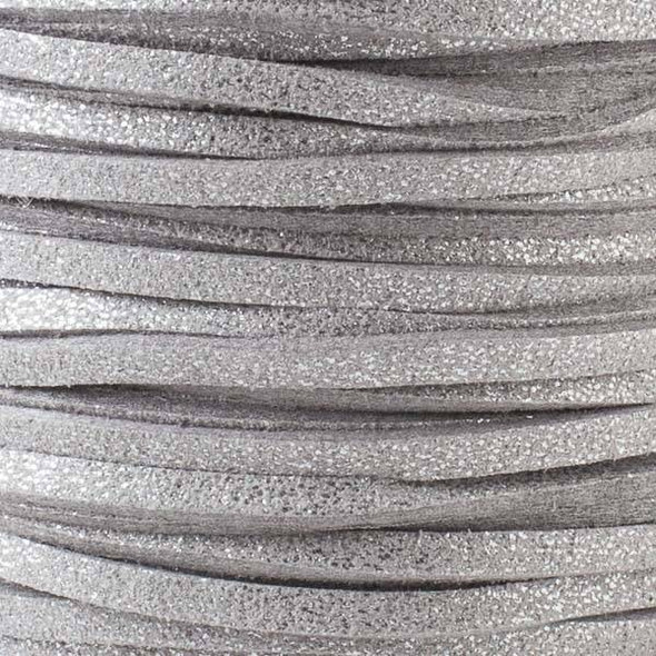 Silver Grey with Glitter Microsuede 1.5mm Thick, 2mm Wide Flat Cord - 100 yard spool