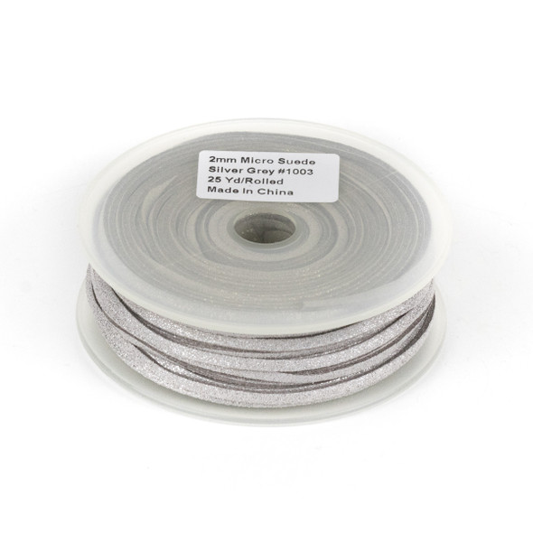 Silver Grey with Glitter Microsuede 1.5mm Thick, 2mm Wide Flat Cord - 25 yard spool