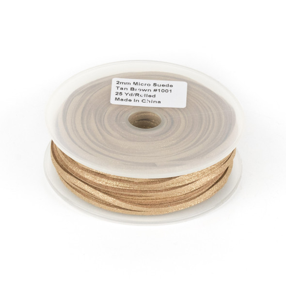 Tan Brown with Glitter Microsuede 1.5mm Thick, 2mm Wide Flat Cord - 25 yard spool