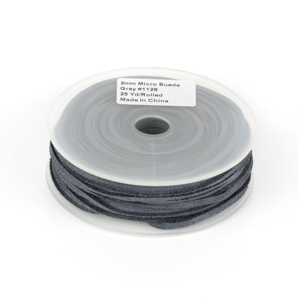 Grey Microsuede 1.5mm Thick, 2mm Wide Flat Cord - 25 yard spool