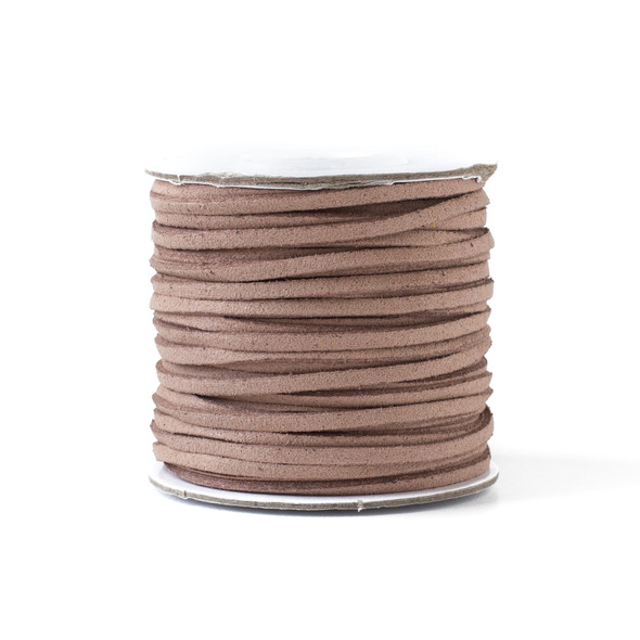 Mocha Brown/Tan Microsuede 1.5mm Thick, 2mm Wide Flat Cord - 100 yard spool