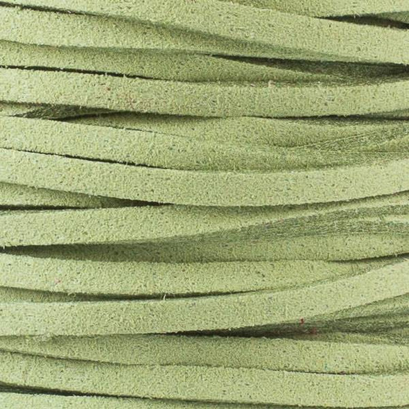 Moss Green Microsuede 1.5mm Thick, 2mm Wide Flat Cord - 100 yard spool
