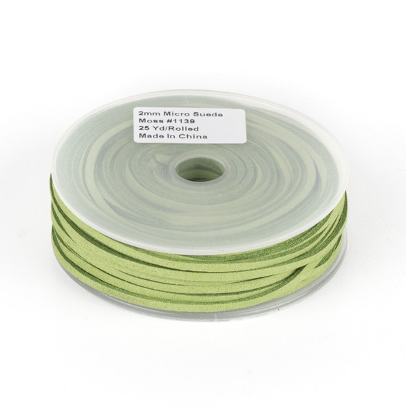 Moss Green Microsuede 1.5mm Thick, 2mm Wide Flat Cord - 25 yard spool