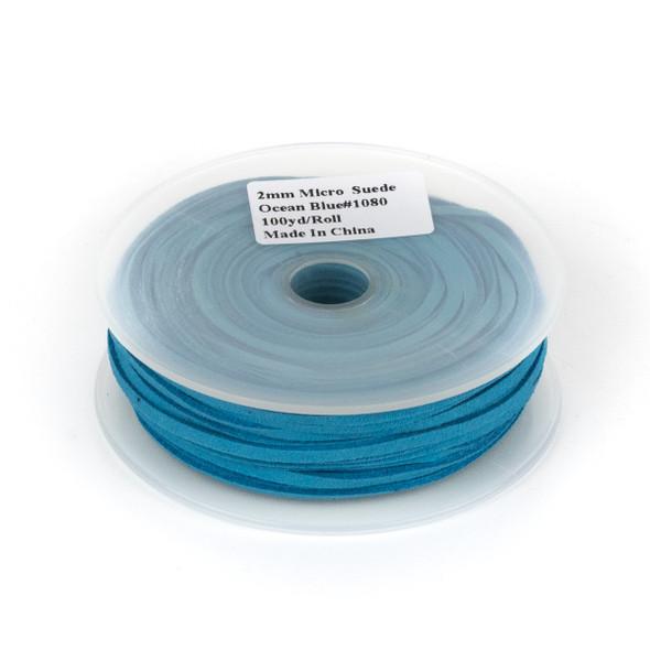 Ocean Blue Microsuede 1.5mm Thick, 2mm Wide Flat Cord - 25 yard spool