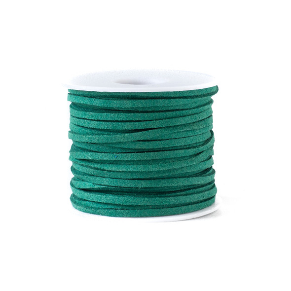 Pine Green Microsuede 1.5mm Thick, 2mm Wide Flat Cord - 100 yard spool